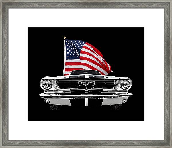 66 Mustang With U.s. Flag On Black Framed Print