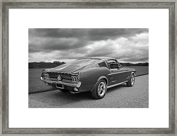 67 Fastback Mustang In Black And White Framed Print