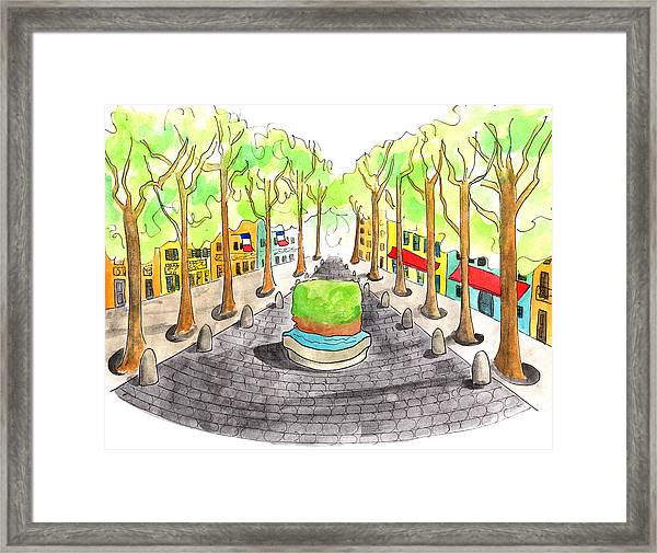 Cours Mirabeau With Trees And Fountain  Framed Print