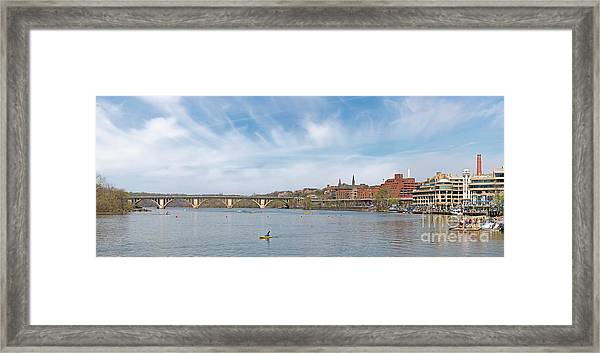 Panoramic Spring View Of Regatta At Georgetown Waterfront Washington Dc Cm2 Framed Print