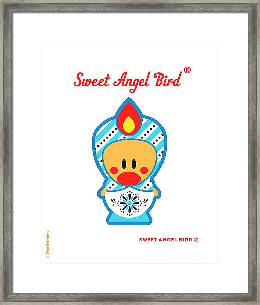 Cute Art - Blue And White Snowflake Folk Art Sweet Angel Bird In A Matryoshka Costume Wall Art Print Framed Print