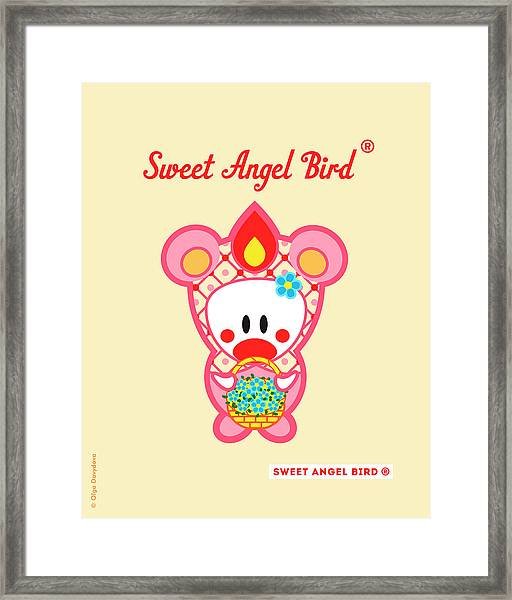 Cute Art - Sweet Angel Bird In A Pink Bear Costume Holding A Basket Of Little Blue Flowers Wall Art Print Framed Print