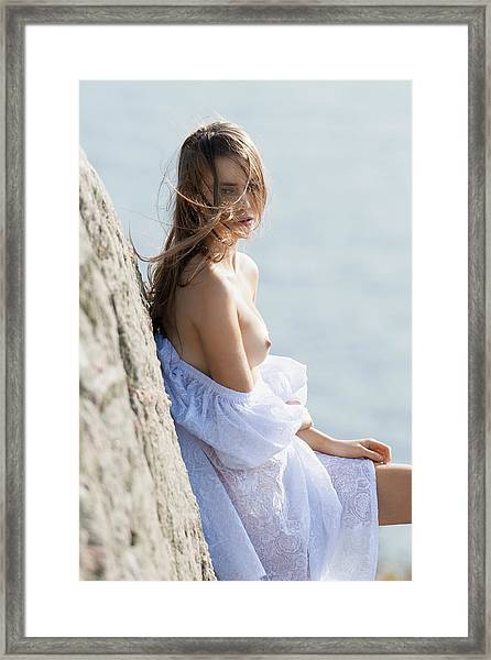 Girl In White Dress Framed Print