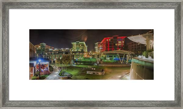 Greenville South Carolina Near Falls Park River Walk At Nigth. Framed Print