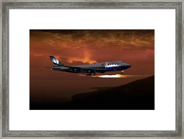 747-400 02 Approach Phog Framed Print