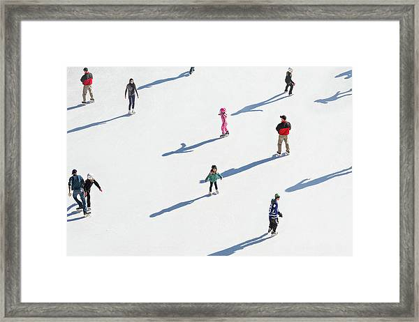 Aerial View Of Ice Skating Framed Print