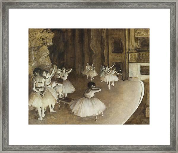 Ballet Rehearsal On Stage Framed Print