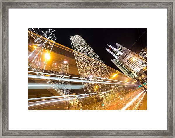 Hong Kong Night Rush Framed Print