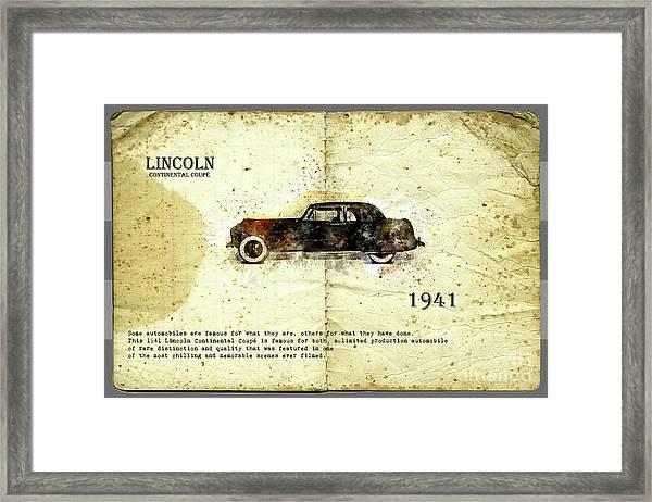 Retro Car In Sketch Style Framed Print
