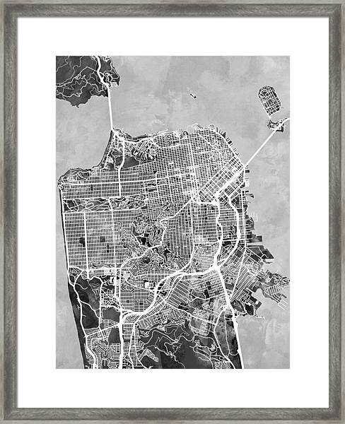 San Francisco City Street Map Framed Print