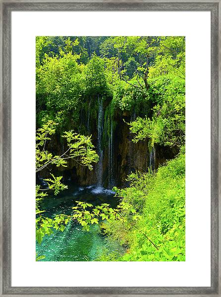 Waterfall In Plitvice National Park In Croatia Framed Print