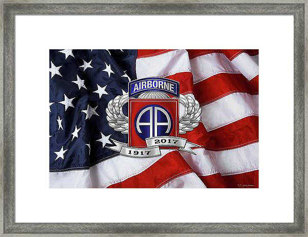 82nd Airborne Division 100th Anniversary Insignia Over American Flag  Framed Print