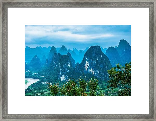 Karst Mountains Landscape Framed Print