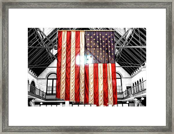 911 Ground Zero Flag Framed Print by John Rizzuto