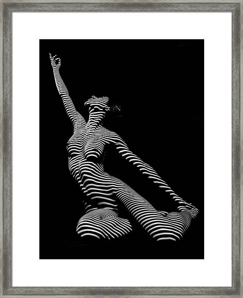 9970-dja Zebra Striped Yoga Reaching Sensual Lines Black White Photograph Abstract By Chris Mahert Framed Print