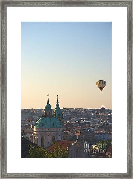 A Balloon Over Prague Framed Print by Hideaki Sakurai