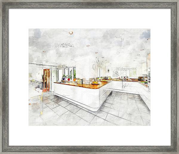 A Bright White Kitchen Framed Print