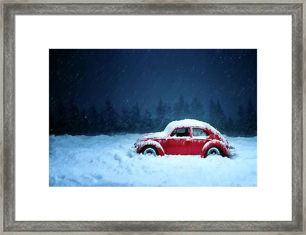 Framed Print featuring the painting A Bug In The Snow by David Dehner