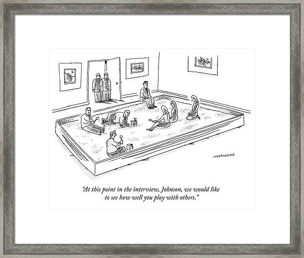 A Bunch Of Adults In Business Clothes Play Framed Print