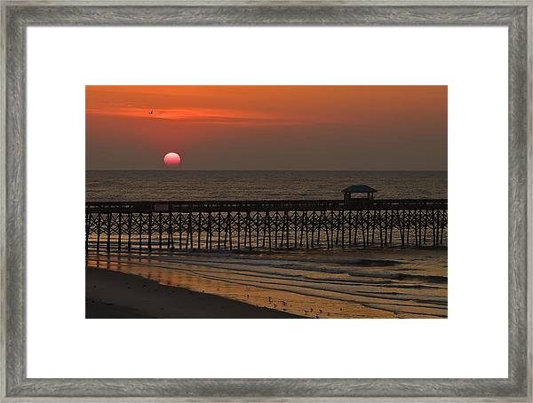 A Charleston Sunrise On The Pier Framed Print by Michael Whitaker