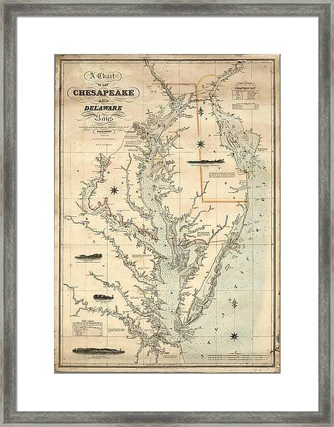 A Chart Of The Chesapeake And Delaware Bays 1862 Framed Print
