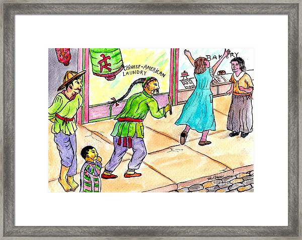 A Chinese Laundry Owner Scaring My Mother And Her Sister  Framed Print