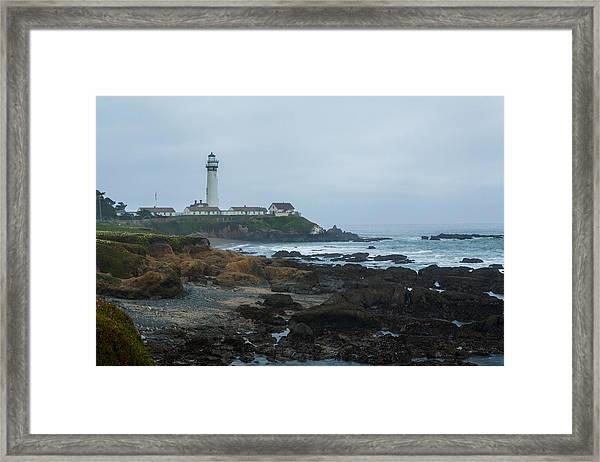 A Cloudy Day At Pigeon Point Framed Print