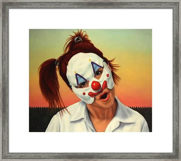 A Clown In My Backyard Framed Print