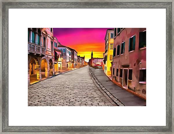 A Cobblestone Street In Venice Framed Print