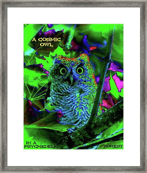 A Cosmic Owl In A Psychedelic Forest Framed Print