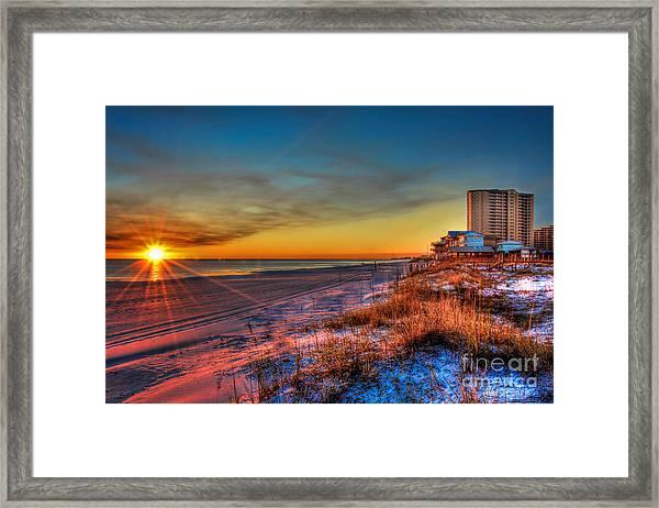 A December Beach Sunset Framed Print