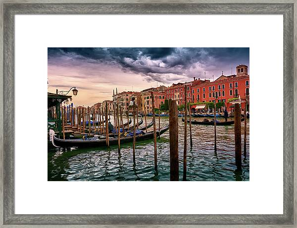 Surreal Seascape On The Grand Canal In Venice, Italy Framed Print