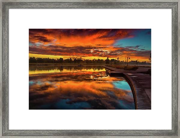 Framed Print featuring the photograph A Fall Sunrise by John De Bord
