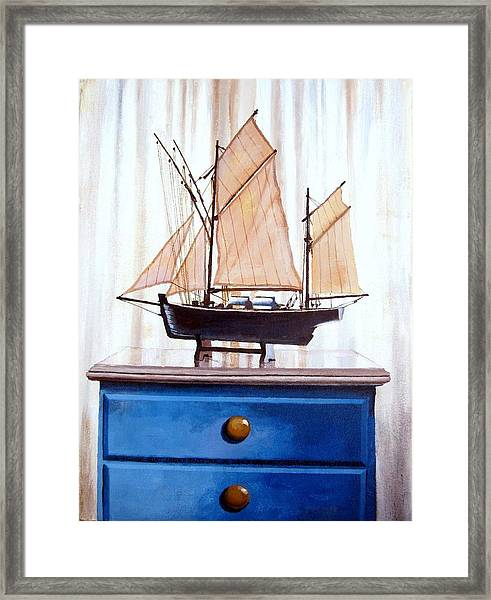 A Fishin Boat Right Outside Of Delacroix Framed Print