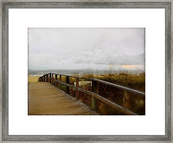 Framed Print featuring the digital art A Foggy Day by Gina Harrison