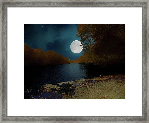 A Full Moon On A River. Framed Print