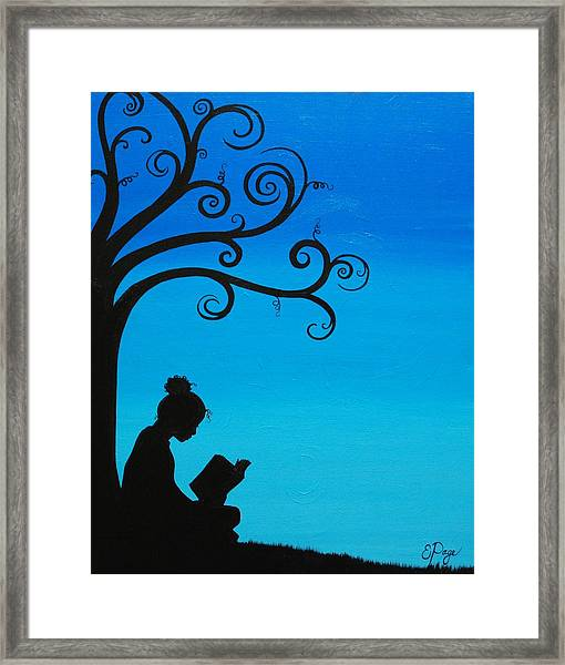 A Girl And Her Book Framed Print