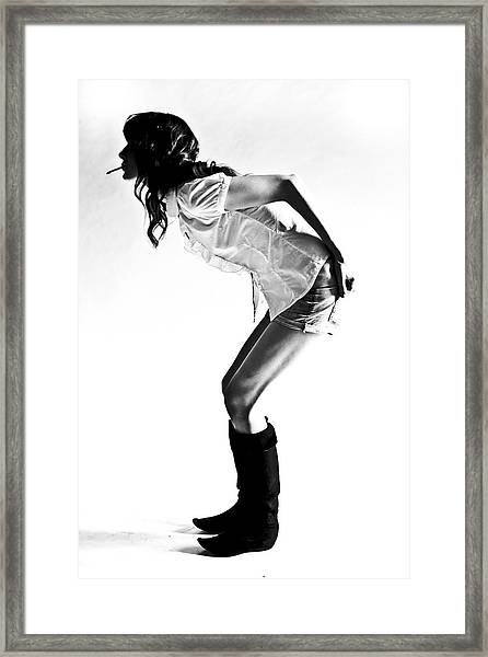 A Girl With A Cigarette Framed Print