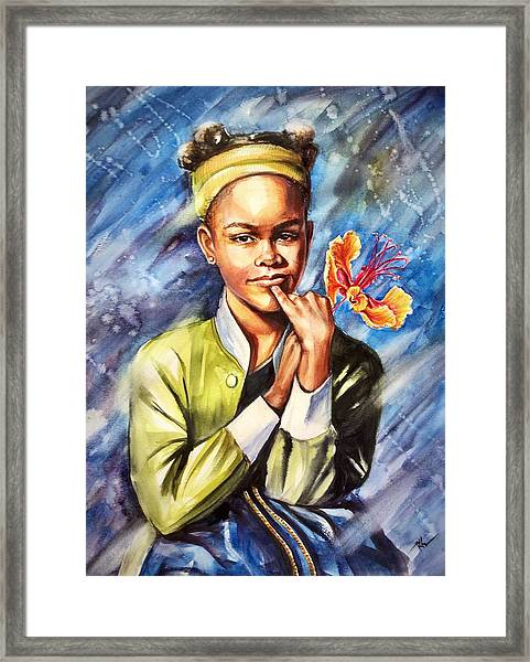 Framed Print featuring the painting A Girl With Yellow Poinciana by Katerina Kovatcheva