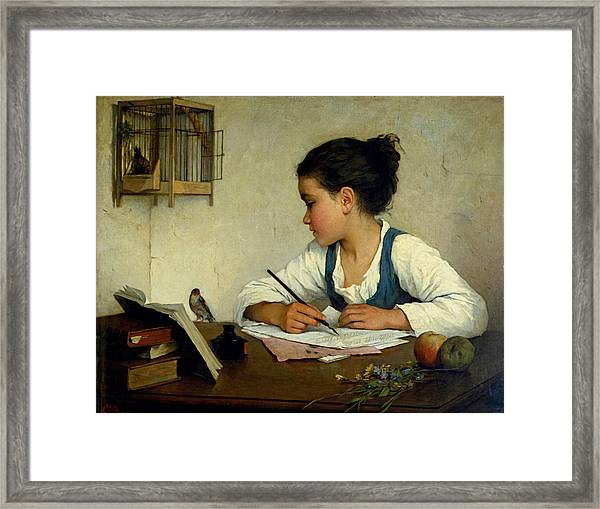 Framed Print featuring the painting A Girl Writing. The Pet Goldfinch by Henriette Browne