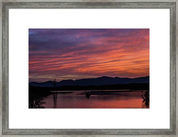 A Glowing Sunset Over The Catskill Mountains Framed Print