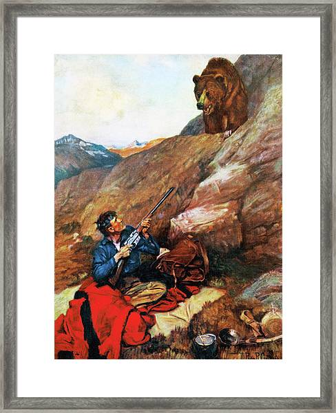 A Grizzly Surprise Framed Print