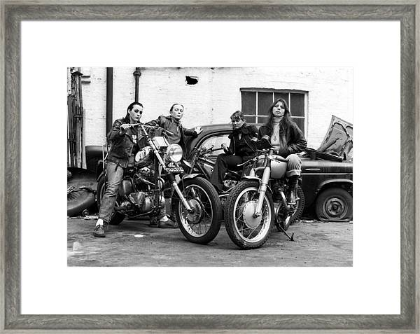 A Group Of Women Associated With The Hells Angels, 1973. Framed Print