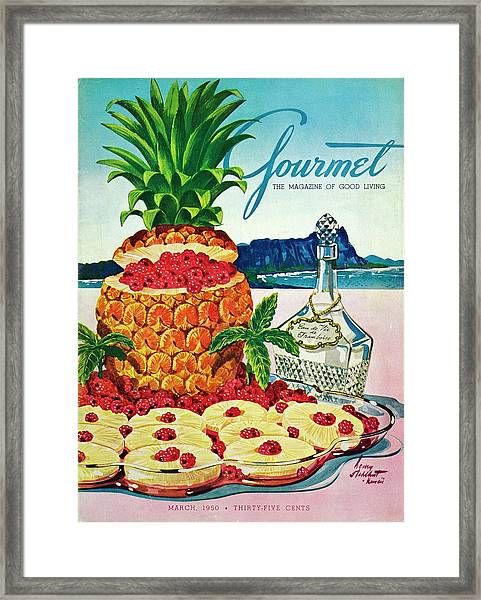 A Hawaiian Scene With Pineapple Slices Framed Print