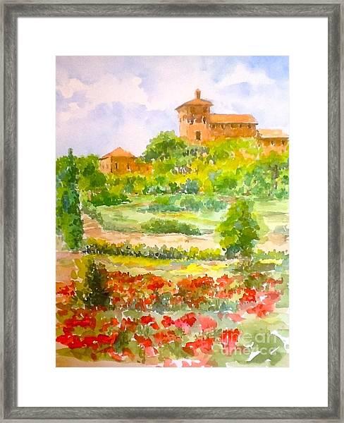 A Hillside Near San Gimignano Framed Print