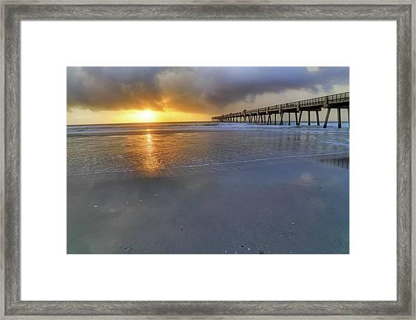 A Jacksonville Beach Sunrise - Florida - Ocean - Pier  Framed Print
