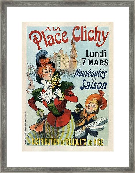 A La Place Clichy - Nouveaute's De La Saison - Vintage French Advertising Poster Framed Print