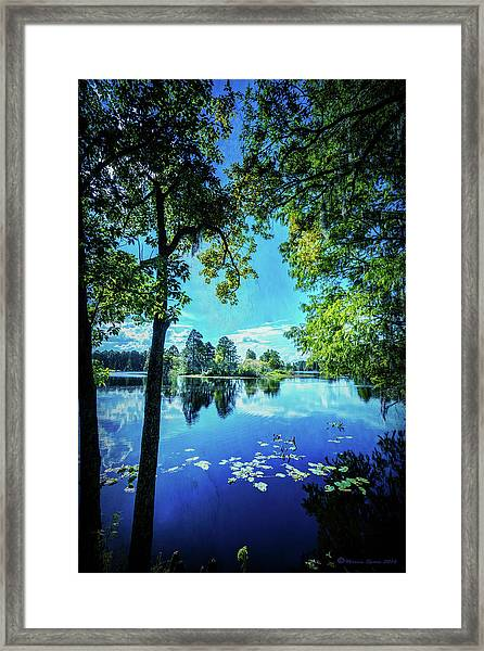 A Line Of Blue Framed Print