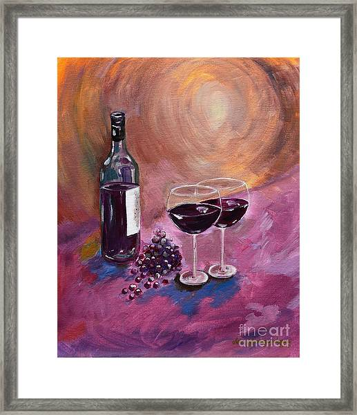 A Little Wine On My Canvas - Wine - Grapes Framed Print