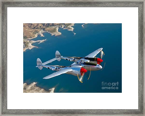 A Lockheed P-38 Lightning Fighter Framed Print